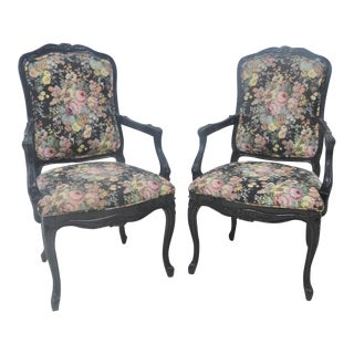 Louis XV Black Floral Lacquered Arm Chairs - a Pair For Sale