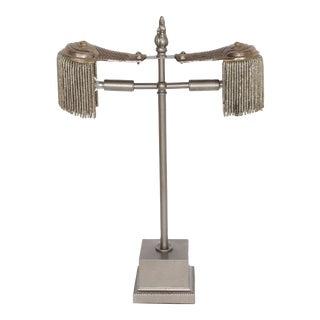 Antique Italian Silver Epaulettes Desk Lamp For Sale