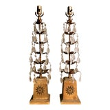 Image of Neoclassical Hollywood Regency Gilt Tole Leaf and Crystal Table Lamps - a Pair For Sale