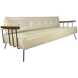 Classic Modernist Iron and Wood Sofa/Daybed in the Manner of Weinberg-Salterini For Sale