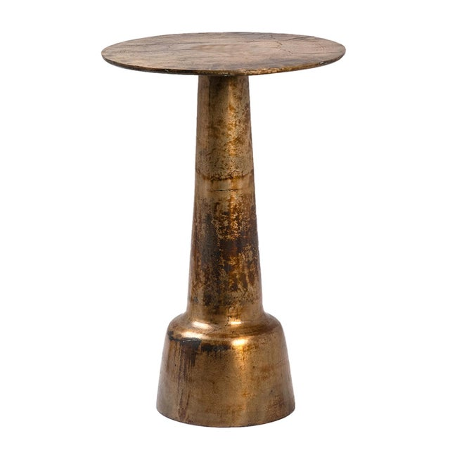 Brass Pedestal Side Table For Sale - Image 4 of 4