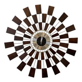 Mid-Century Sunburst Clock by Wingard For Sale