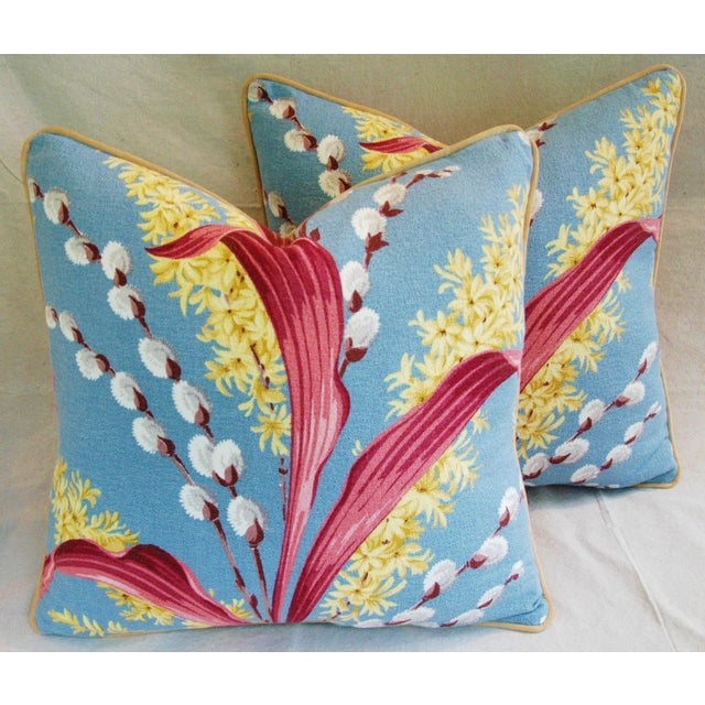 Vintage Tropical Floral Barkcloth Pillows - a Pair - Image 2 of 11