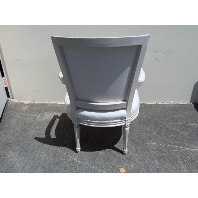 French French Style White Arm Chairs - A Pair For Sale - Image 3 of 11