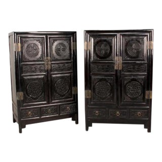Antique Chinese Zitan Cabinets - A Pair For Sale