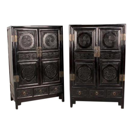 Antique Chinese Zitan Cabinets - A Pair - Image 1 of 11