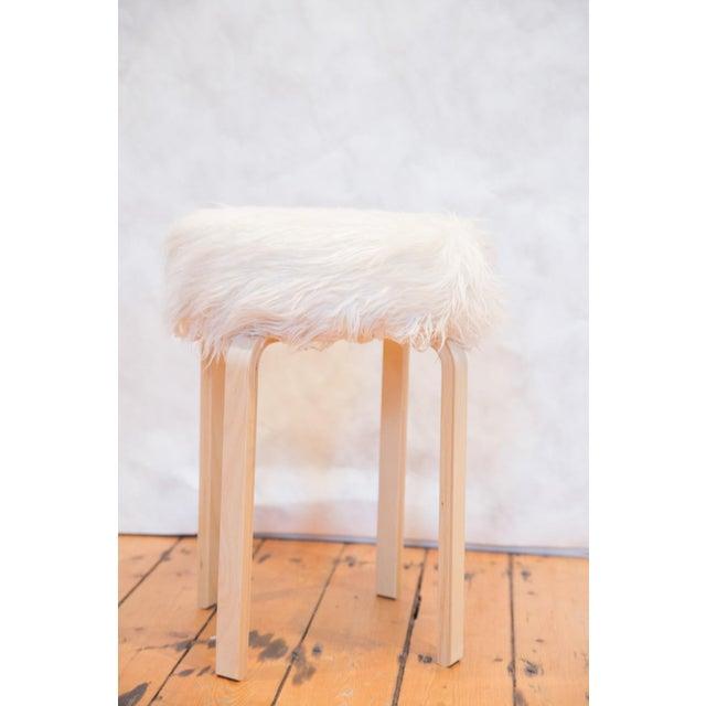2010s Faux Fur Alvar Aalto Stye Stool For Sale - Image 5 of 7