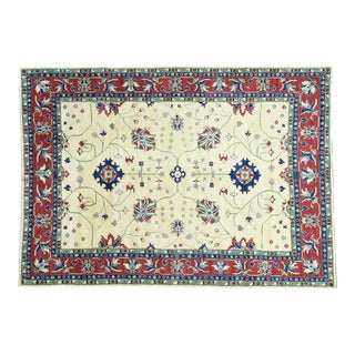 Hand-Knotted Kazak Wool Geometric Design Rug- 9′10″ × 14′ For Sale