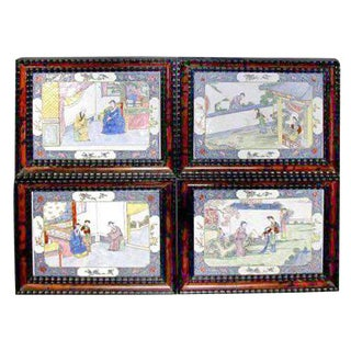 18th Century Canton Enamel Plaques - Set of 4 For Sale