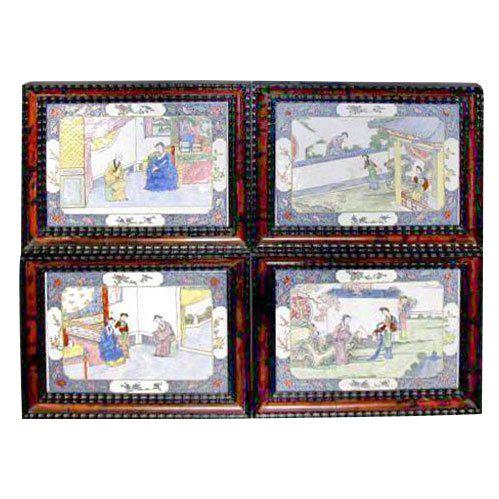 18th Century Canton Enamel Plaques - Set of 4 For Sale