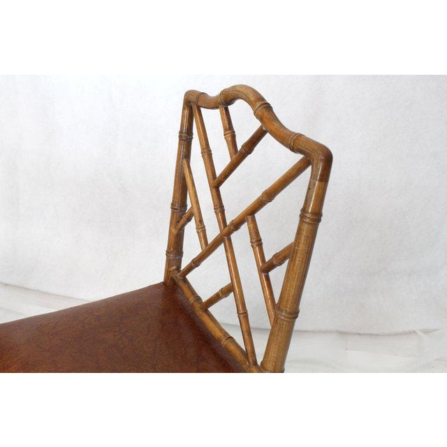 1970s Set of Four Carved Faux Bamboo Dining Chairs For Sale - Image 5 of 9