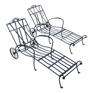 Vintage Wrought Iron Chaise Lounge - A Pair