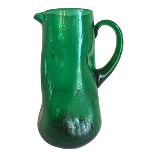1950s Mid-Century Modern Pilgrim Pinched Emerald Green Crackled Pitcher For Sale