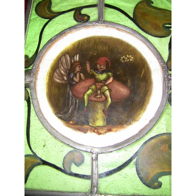 Rustic Irish Stained and Hand Painted Glass Panel of Fairy and Leprechaun - Unique For Sale - Image 3 of 11