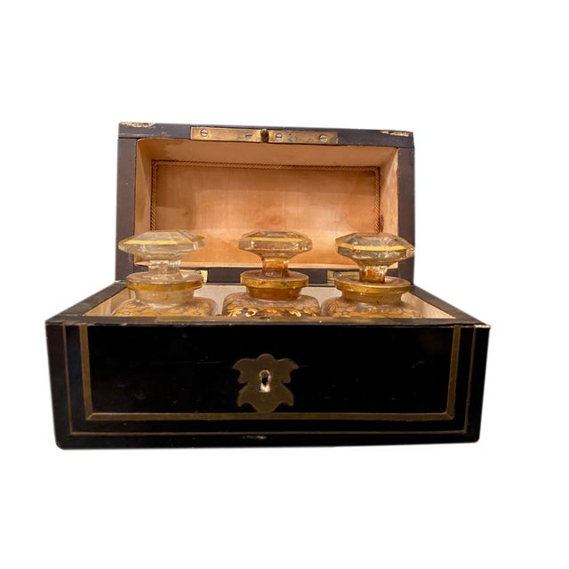 Wood Perfume Box With Three Gilt Painted Perfume Bottles - 4 Pieces For Sale - Image 7 of 10