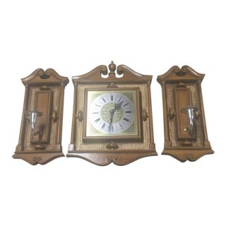1960s Vintage Burwood Products Co Sconces & Clock - 3 Pieces For Sale