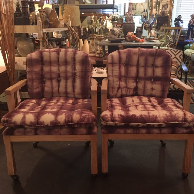Vintage Lined Wood Armchairs on Casters - A Pair - Image 3 of 10