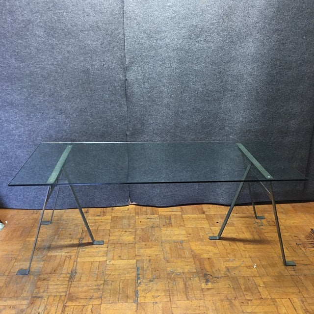 Glass & Metal Architect's Desk or Dining Table - Image 8 of 8