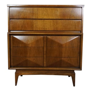 United Mid-Century Diamond Front Highboy