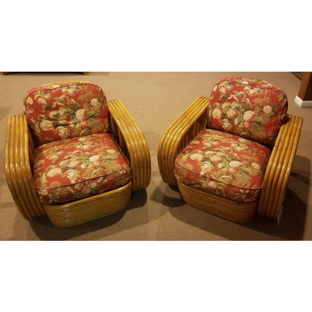 Mid-Century Vintage Paul Frankl Style Bamboo Rattan Lounge Chairs - a Pair For Sale - Image 11 of 11