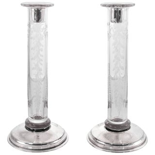 Hawkes Crystal Candlesticks For Sale