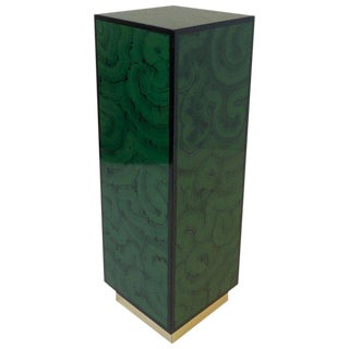 Faux Malanchite Lacquer and Brass Pedestal For Sale