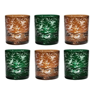 Finch Double Old Fashioned Glasses, Set of 6, Mahogany and British Racer Green For Sale