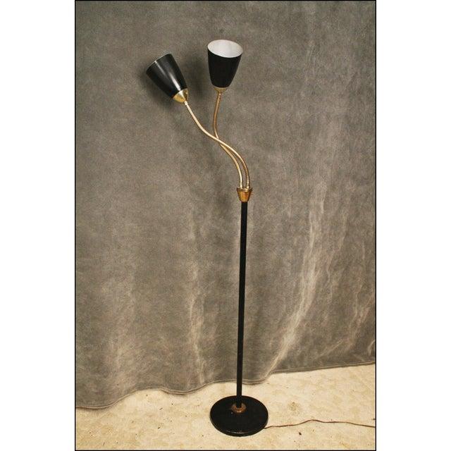 Mid Century Modern Black Double Gooseneck Floor Lamp For Sale - Image 6 of 11