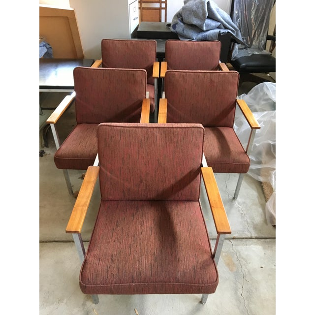 Metal 1960's Mid-Century Modern Chrome & Walnut Armchairs - Set of 6 For Sale - Image 7 of 9