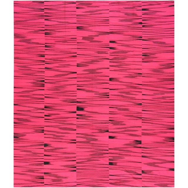 21st Century Pink or Black Geometric Turkish Kilim Rug For Sale