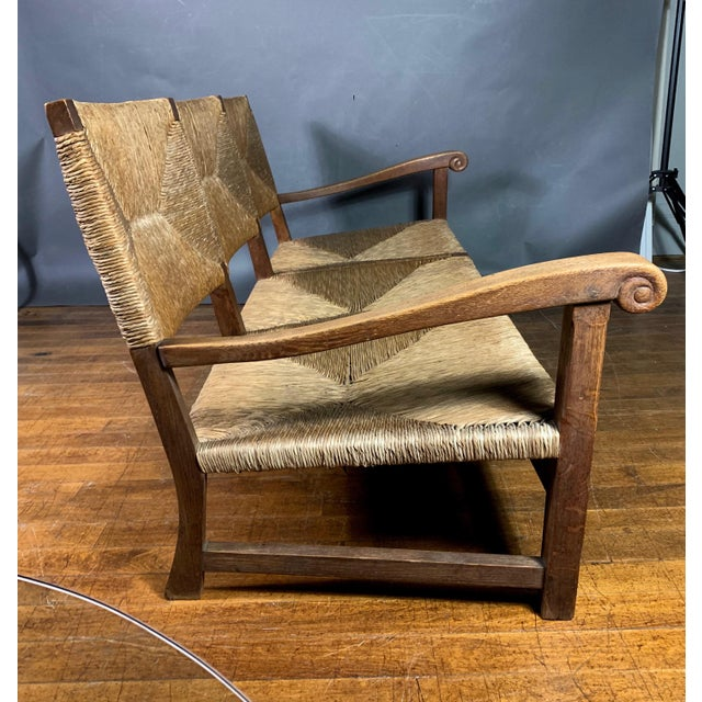 Wood Large 1940s Continental Woven Rush 3-Seat Settee For Sale - Image 7 of 13