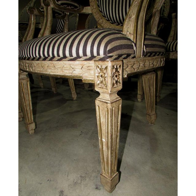 French Louis XV Carved Wood Oval Back Dining Arm Chairs - Set of 7 For Sale - Image 9 of 13