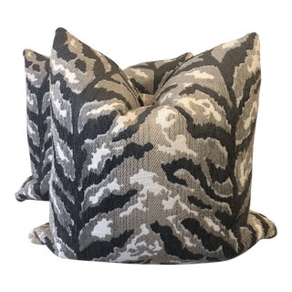 Woven Tiger Print Gray Pillows - a Pair For Sale