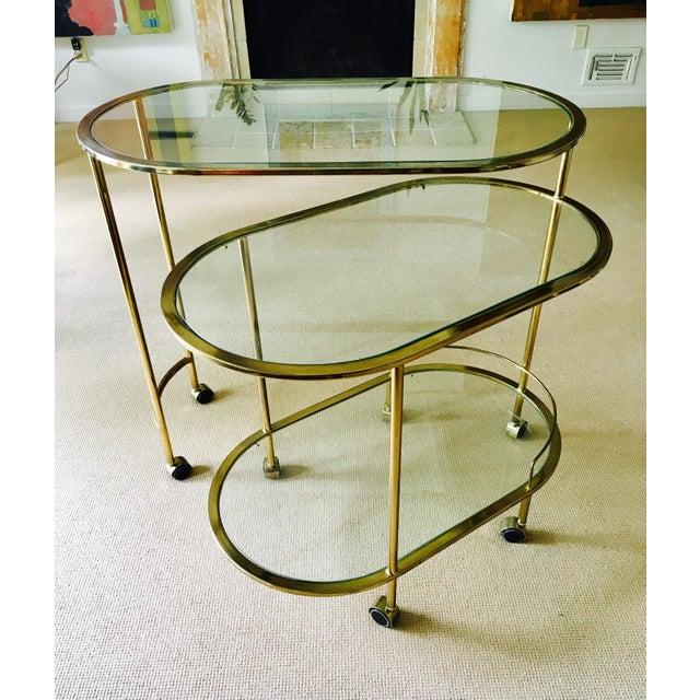 Mid Century Bar Cart Brass Swivel Triple Tiered - Image 2 of 11