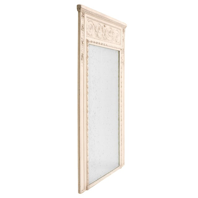 Early 19th Century French Antique White Trumeau Mirror For Sale - Image 5 of 10