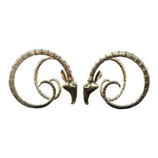 Hollywood Regency Oversized Brass Ram Head Table Bases - Set of 2 For Sale