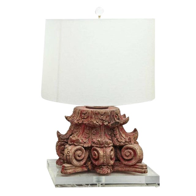 Lamp Fashioned from 19th Century Capital - Image 1 of 6