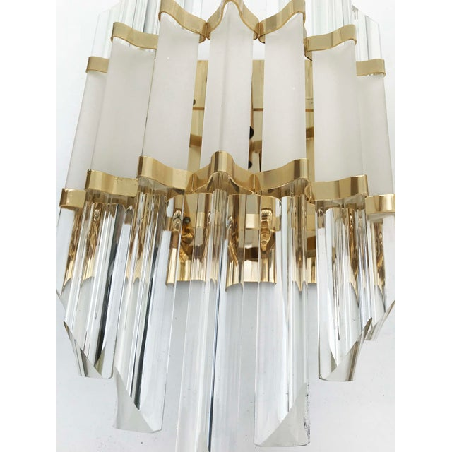 Mid-Century Modern 1970s Murano Glass and Brass Wall Sconces - a Pair For Sale - Image 3 of 7