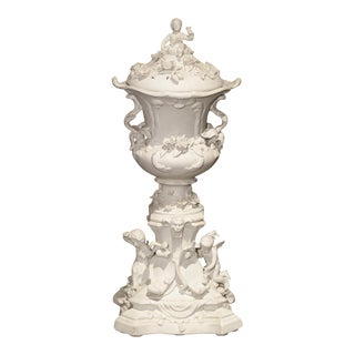 Highly Detailed Antique French Lidded Bisque Urn, Circa 1900 For Sale