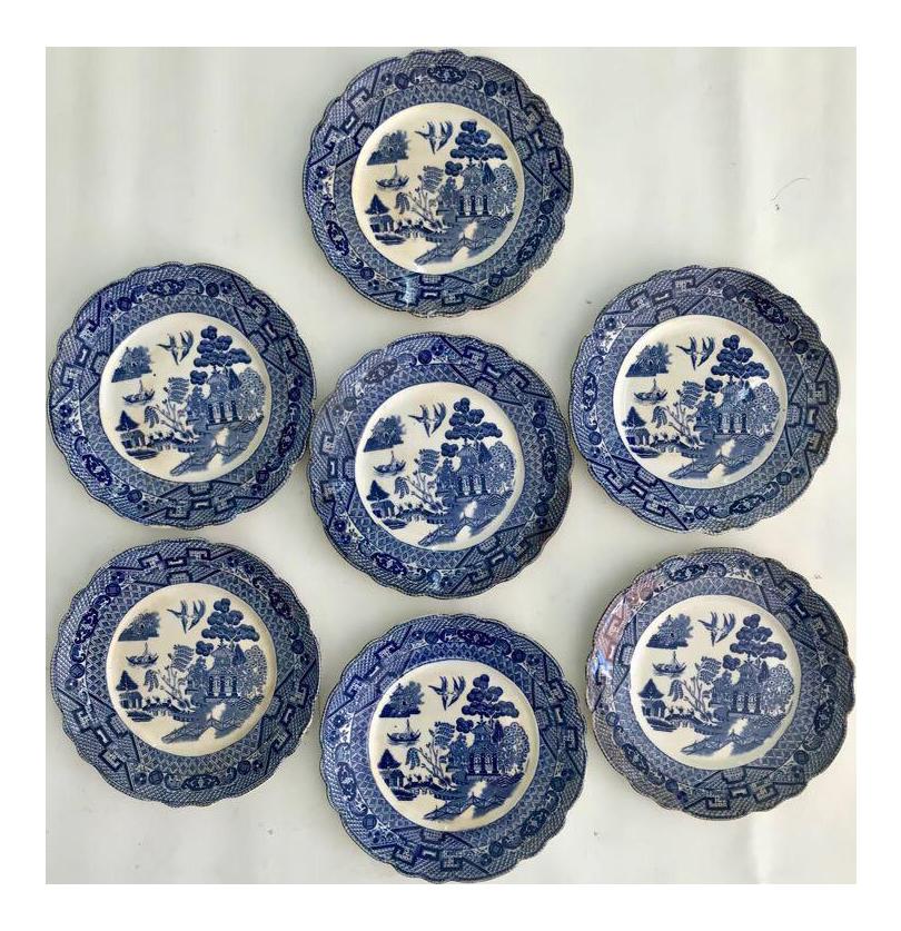 Antique Blue \u0026 White English Salad Plates - Set of 7  sc 1 st  Chairish & Antique Blue \u0026 White English Salad Plates - Set of 7 | Chairish