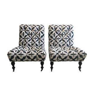 Tufted Slipper Chairs - A Pair