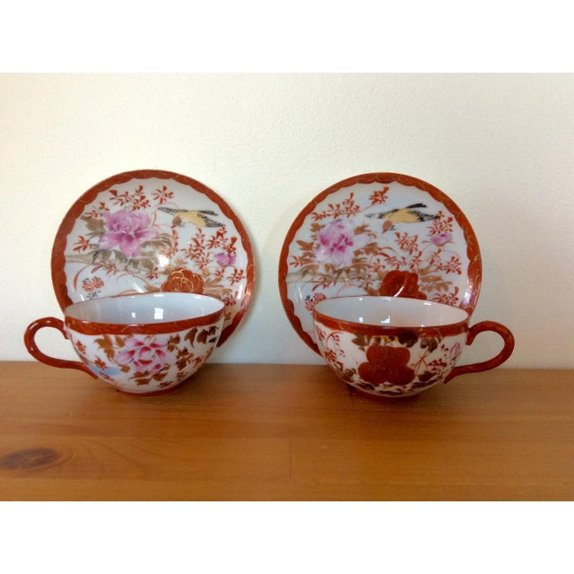 1920's Satsuma Eggshell Cups & Saucers - A Pair - Image 2 of 8