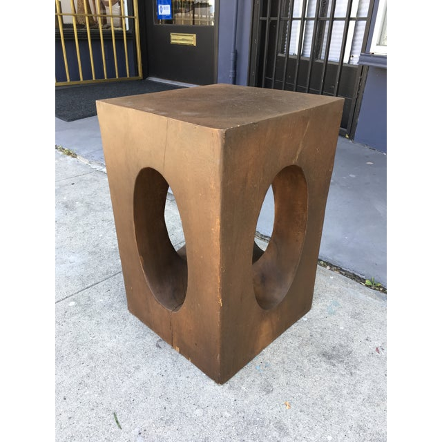 Amazing Solid Mahogany sculptural side table, accent table, or stand. Hand carved out of a solid piece of Mahogany....