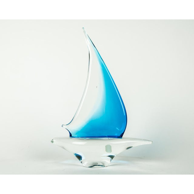 Blue Murano Glass Decorative Boat Piece For Sale - Image 8 of 8