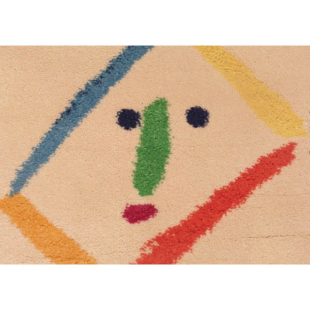 Mid-Century Modern Square Vintage Picasso Art Rug For Sale - Image 3 of 7