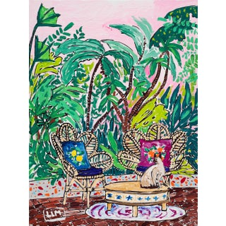 Siamese Cat in Jungle Garden Against Tropical Pink Sky Painting For Sale
