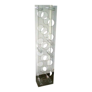 Vintage Mid-Century Modern Standing Lucite Wine Rack For Sale