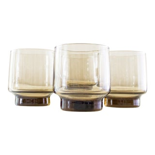 Smoked Amber Glass Tumblers Vintage Barware- Set of 8 For Sale