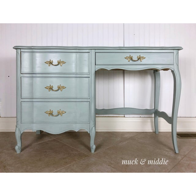 Blue French Provincial Blue Writing Desk/Vanity For Sale - Image 8 of 8
