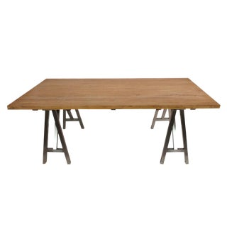 Reclaimed Wood Dining Table with Polished Steel Legs For Sale